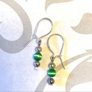 Kelly green silver earrings